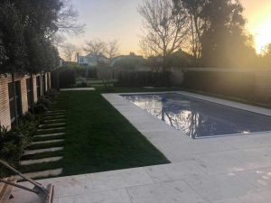 Artificial Grass Around Swimming Pool Before